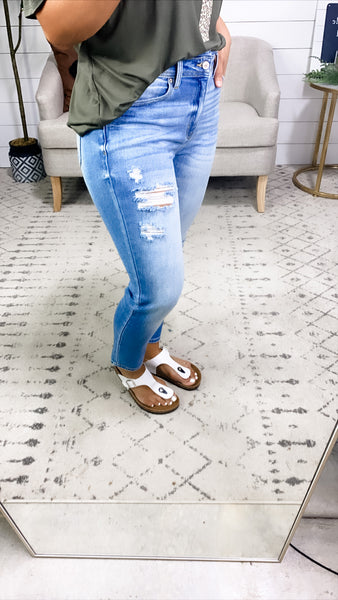 The Maci's- Light Was Distressed Mom Fit Jeans