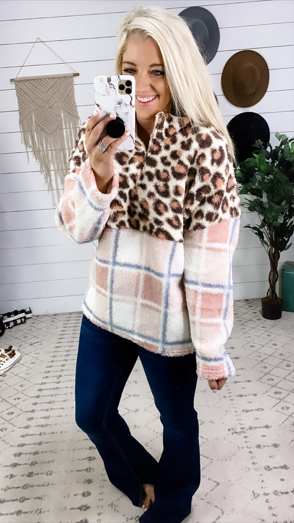 What Can I Do- Blush Leopard & Plaid Pull Over