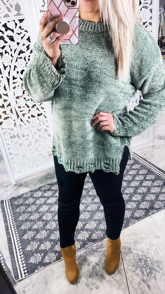 I'm Outta Here - Green Distressed Sweater