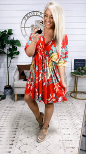 You Are Enough- Red Floral Dolman Dress