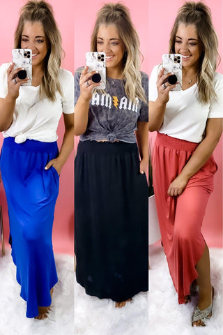Not Your Fault- RESTOCKED {Blue, Cranberry, & Black} Buttery Soft Maxi Skirt