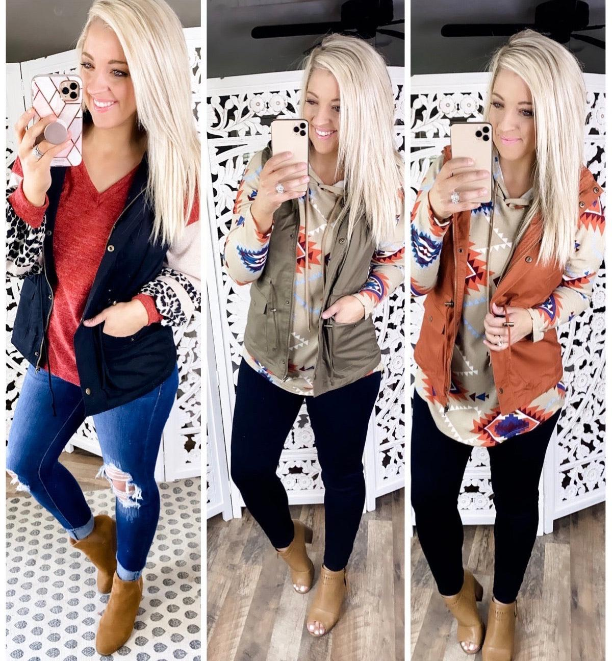 Layer Up- {Rust} {Olive} {Black} Vest
