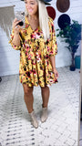 Had Me At Hello - Mustard Floral Dress