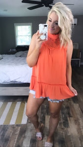 Love For Lace- Coral Lace Trim Tunic