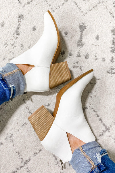 Frosted Feet- White Ankle Booties