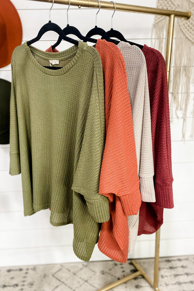 I Met You Before- {Olive,Ginger,Ash Gray,Marsala} Waffle Knit Top