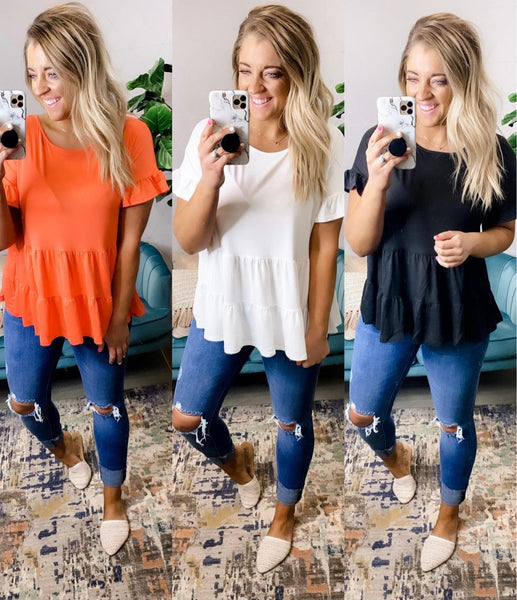 Layered In Love- {Black, Coral, & White} Ruffle Layered Short Sleeve Top
