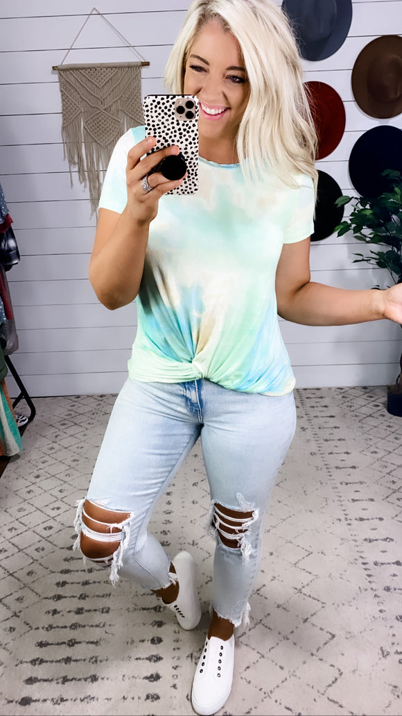 Twist & Shout- Front Twist Tie Dye Top