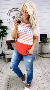 Stand Proud- Soft Red/White/Blue Stars & Stripes Top