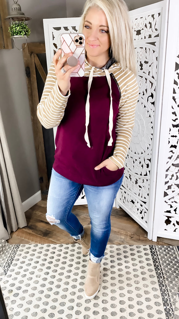Need Your Love- Dark Berry w/ Mustard & White Stripe Detail Hoodie