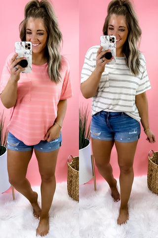 Keeping Promises- {Pink & Ivory} Striped Short Sleeve w/ Front Pocket