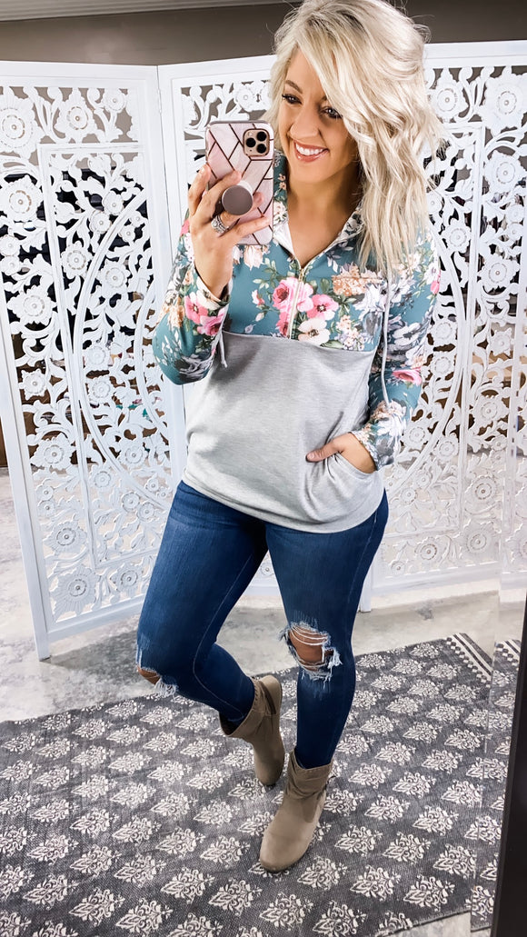 Bonding Time- Floral & Gray Pullover Hoodie