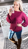 Red Wine Stain- Burgundy Off Shoulder Bubble Sleeve