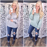 Let It Move You - V-Neck Waffle Knit {Sage & Gray}