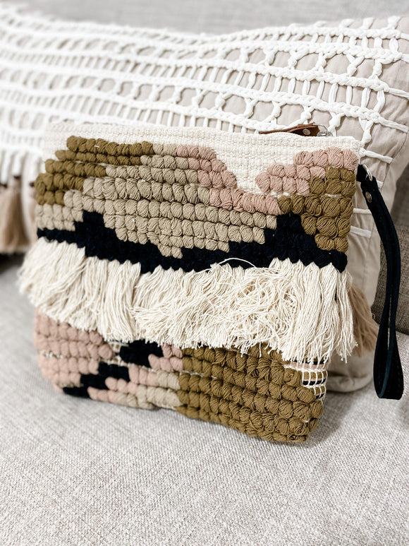 Cream Boho Clutch w/ Wrist-let