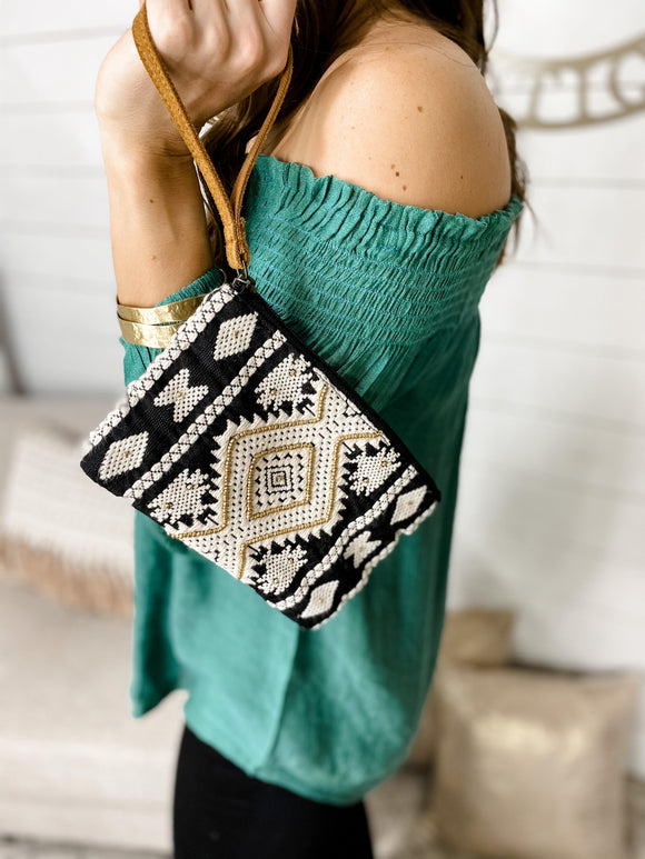 Stitched & Gold Beaded Wristlet