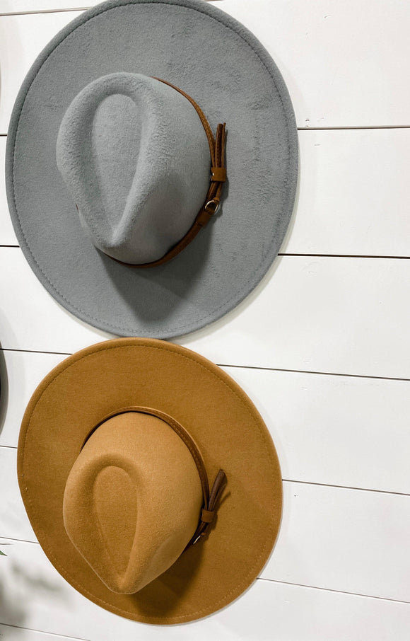Finishing Touch- {Gray & Camel} Hat w/ Hat Belt