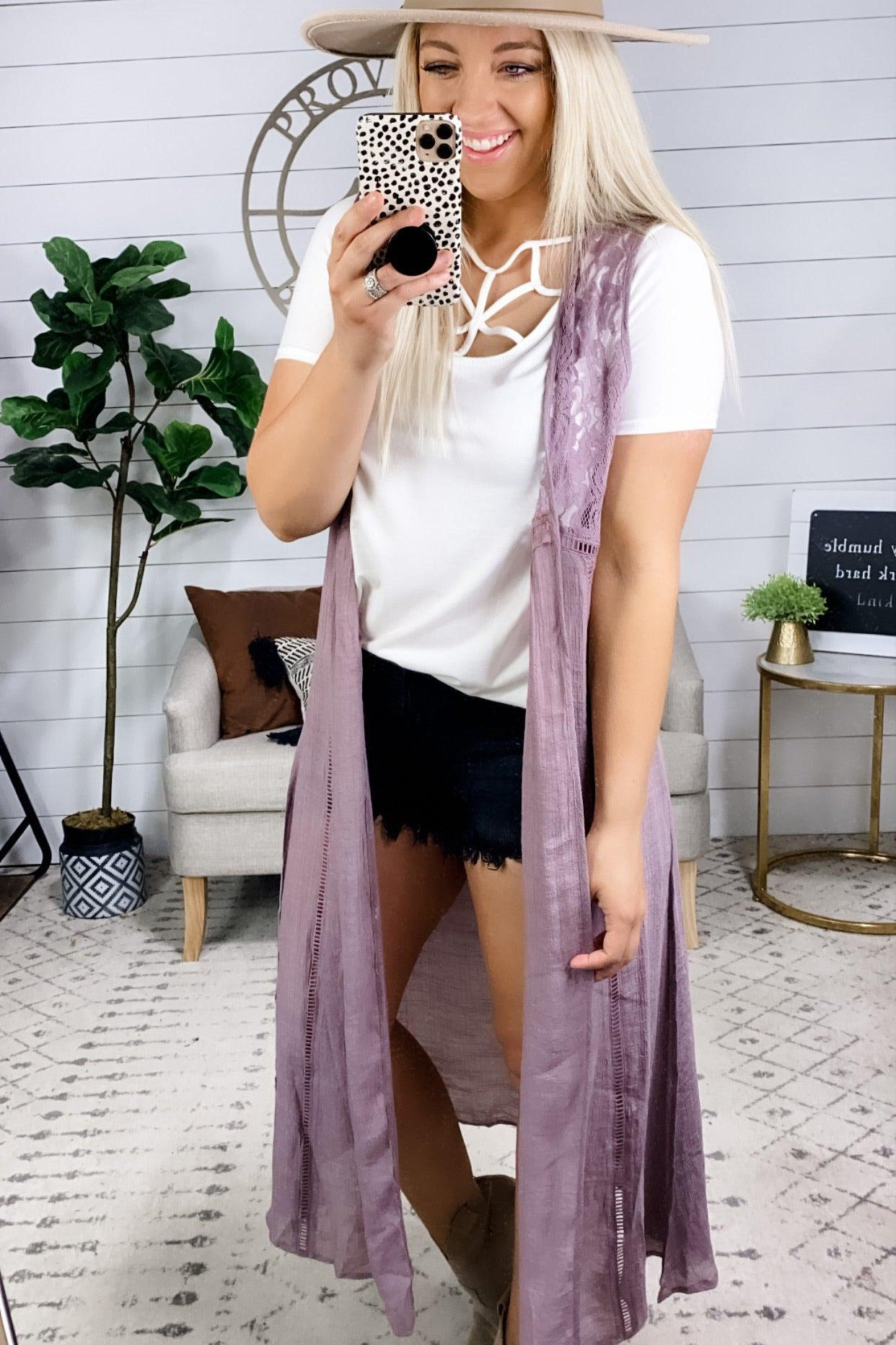 I Fell For You- Dusty Lavender Lace Tank Duster Kimono