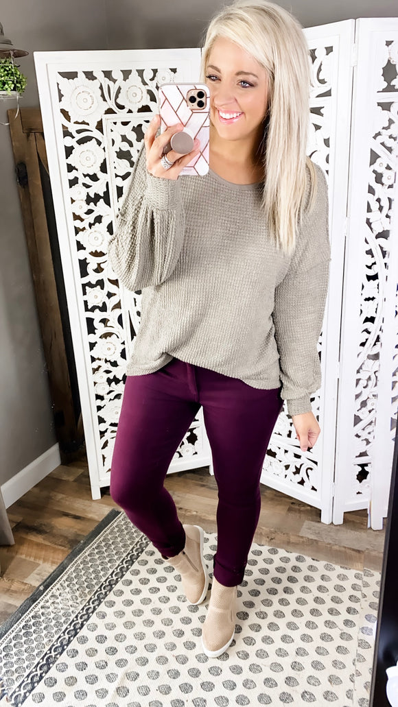 Try My Best- Taupe Waffle Knit Top