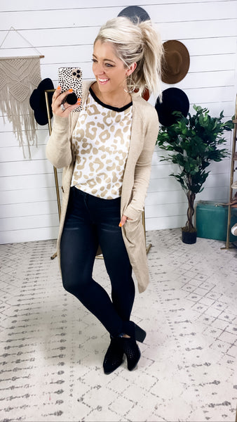 High Standards- {Black,Cream,Mauve,Oatmeal} Cardigan w/ Side Slits