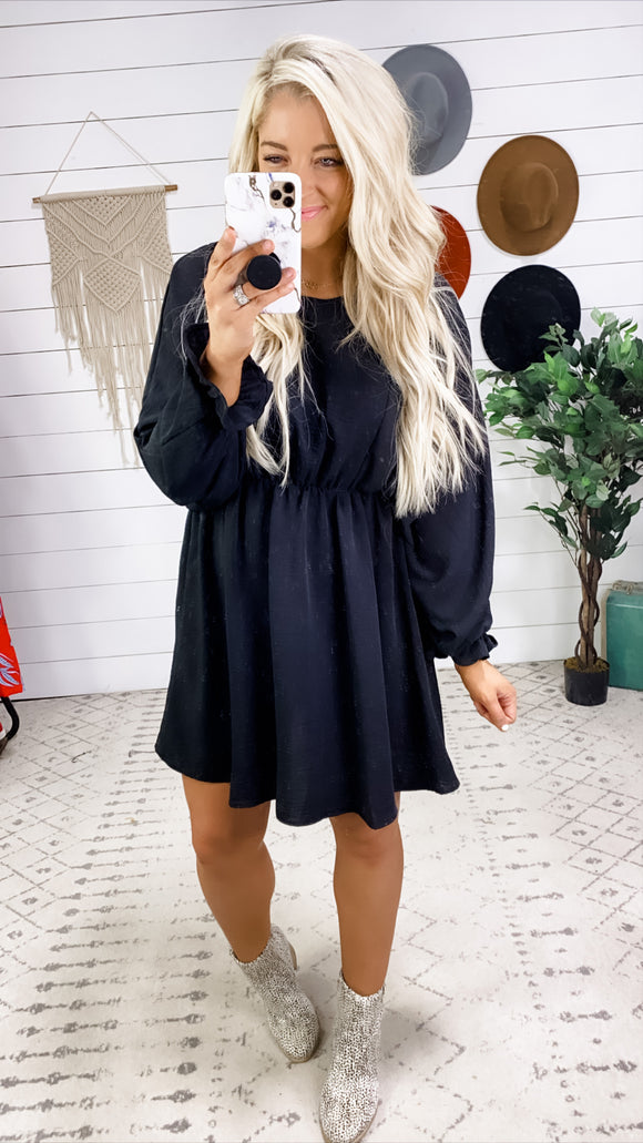 Oh So Lucky- Black Dolman Sleeve Dress