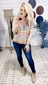 Stay With Me- Mocha Colorful Striped Sweater