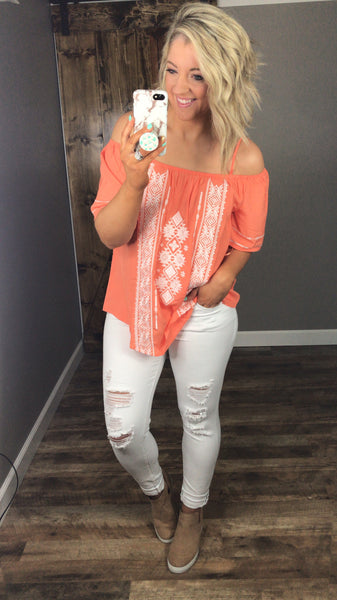 She's All That- Coral Embroidered Off Shoulder