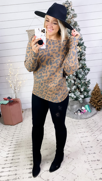 Another Thing- {Gray & Brown} Leopard Boat Neck Top