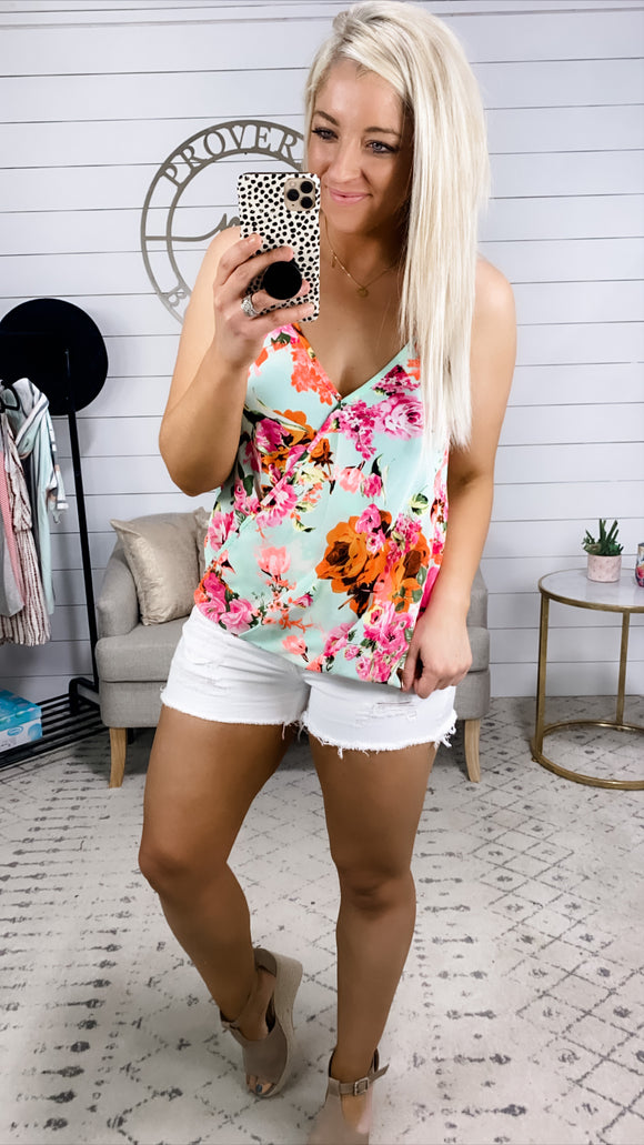 Supposed To Care- Bright Floral & Mint Cross Over Tank