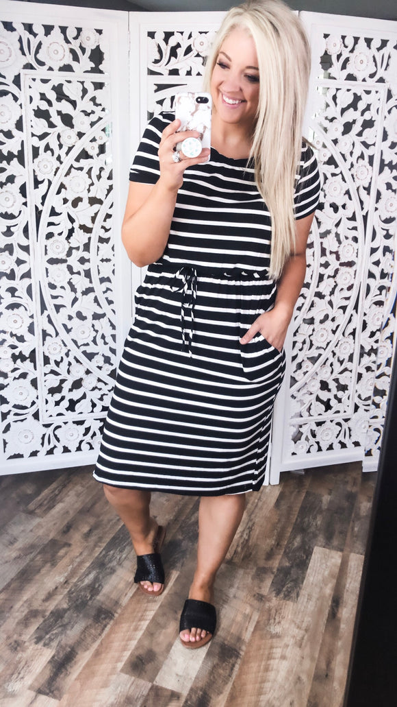 Never Leave- B&W Stripe 3/4 length Dress - FINAL SALE