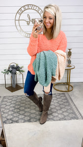 Time Together-{Coral}{Sage}{Light Peach} V-Neck Popcorn Sweater