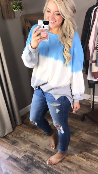 Storms Pass- Blue/White/Gray Sweater