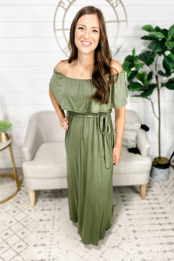 Show Time- Olive Off Shoulder Dress