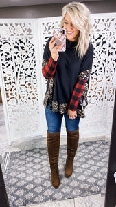Try Harder- Black/Plaid/Leopard Cowl Neck