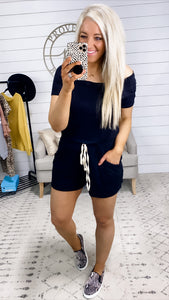 Can't Wait To Go- Black Wide Neck Romper