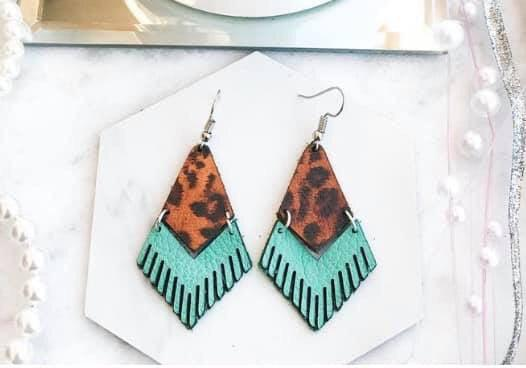 Leopard & Turquoise Leather Earrings