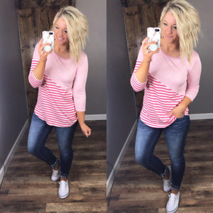 Little Moments- Pink & Stripe 3/4 Sleeve