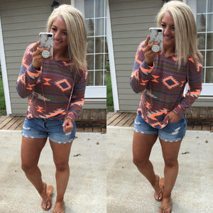 Stay Awhile - Light-weight Aztec Print pull over