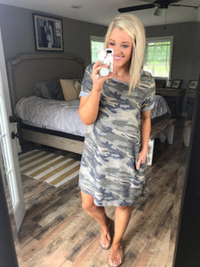 Thought It Through- Camo Rolled Sleeve Dress