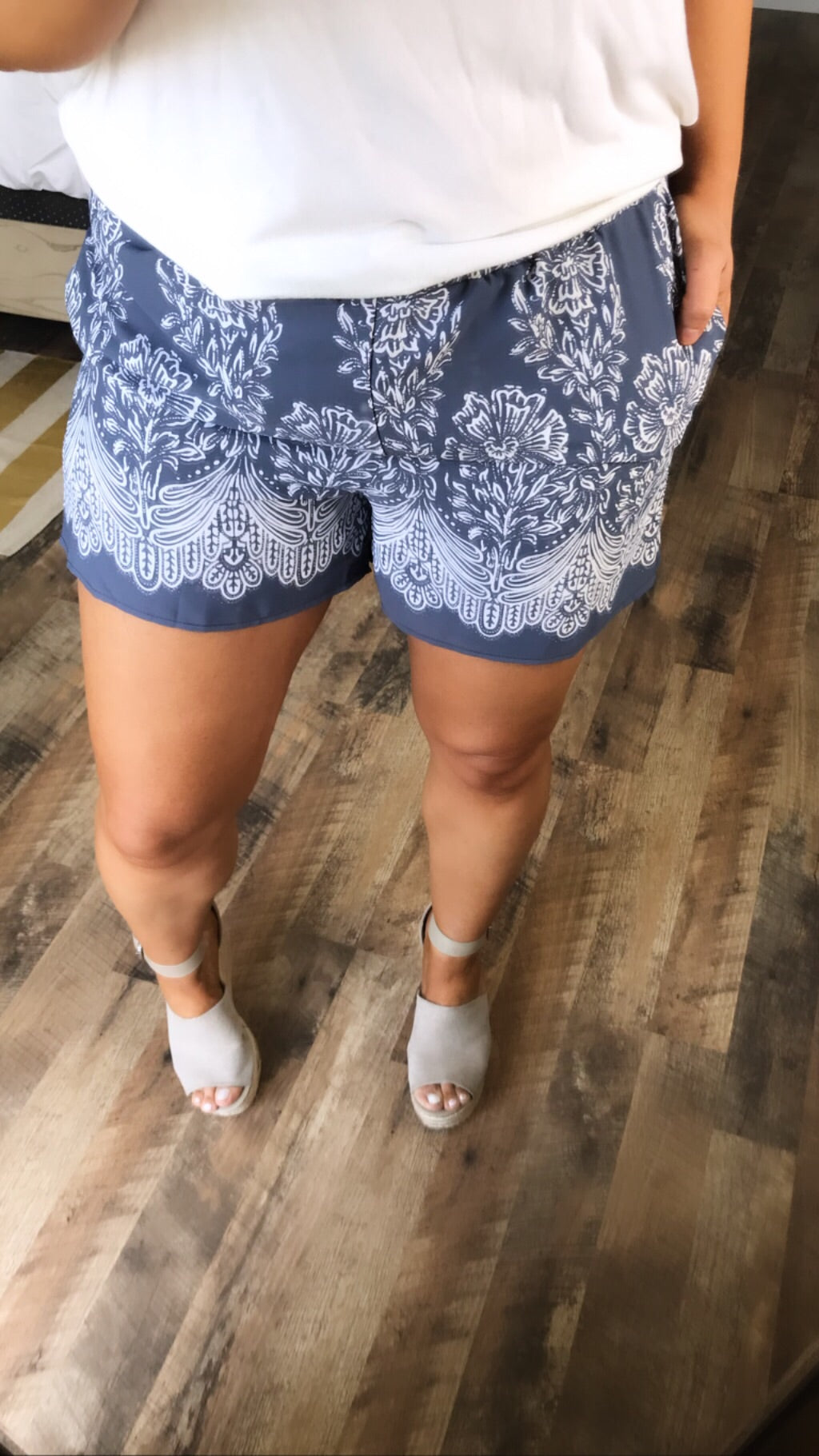 Never Stop- Dusty Blue/White Floral Shorts