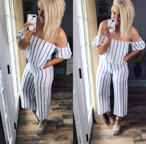 Light Up A Room- Striped Open Shoulder Jumpsuit