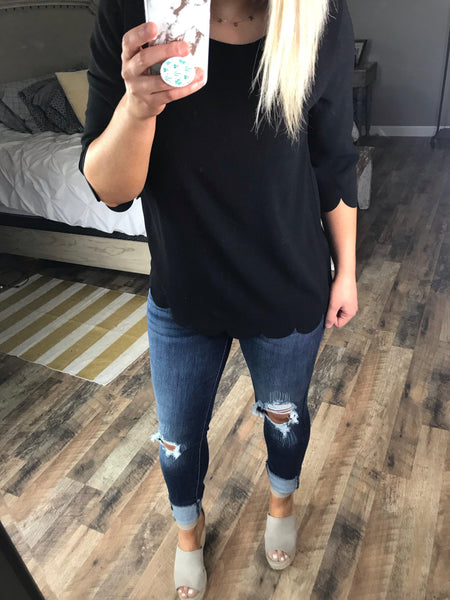 Nothing More- Black Scallop 3/4 Sleeve Top