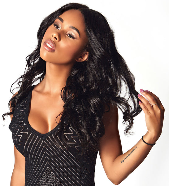 Body wave style Virgin human hair extensions from the Diamond Collection