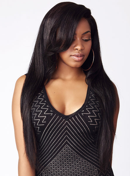 Straight textured human hair extensions