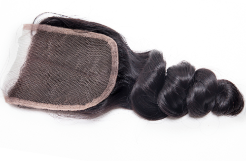 Back view of Brazilian Remy Loose Wave closure