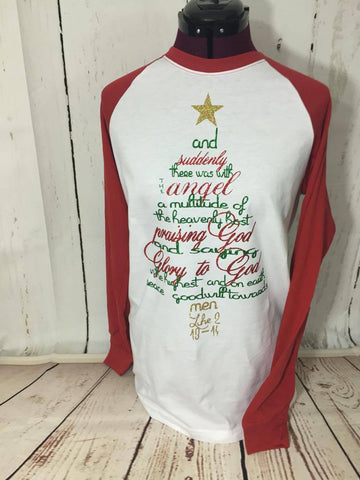 Christmas tree verse baseball tee. Adult and Kids