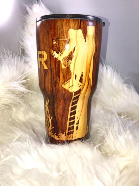 Wood grain Bow Hunter and Deer Tumbler