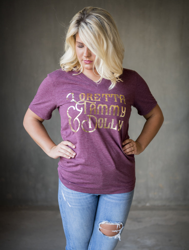Loretta, Tammy, & Dolly v-neck tee