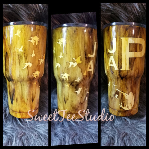 Wood grain Hunter and Flying Duck Tumbler or Flask set