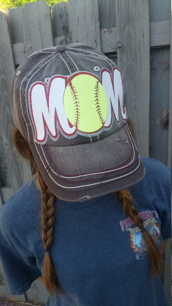 Softball Mom or Baseball Mom Glitter ball cap Heavy distressed Hat Women's Hat Women's Cap, Low Profile, Game day
